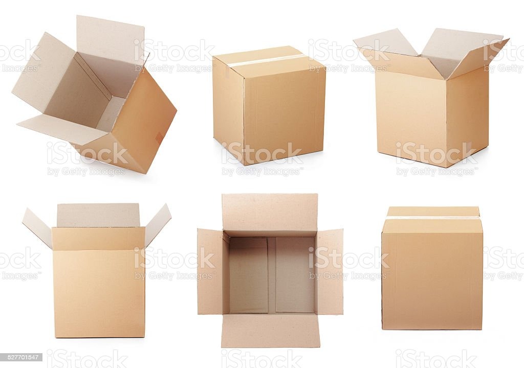 set of cardboard box stock photo
