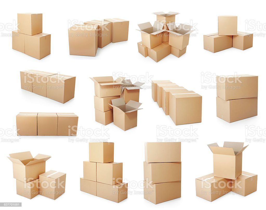 set of cardboard boxes pile stock photo