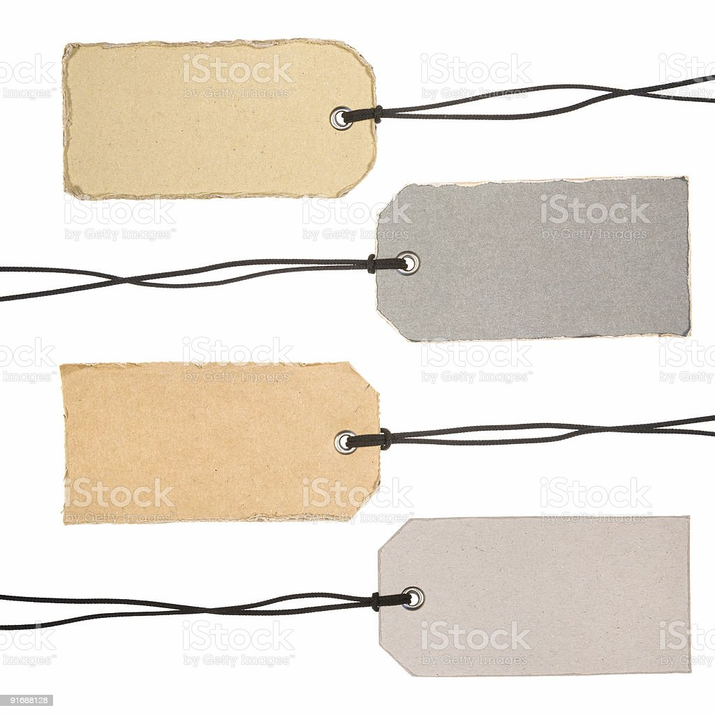 Set of Cardboard Tags royalty-free stock photo