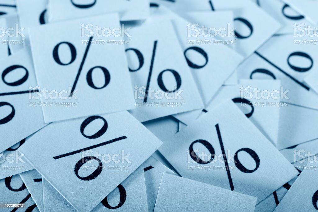 Set of cards with percentage symbols on stock photo