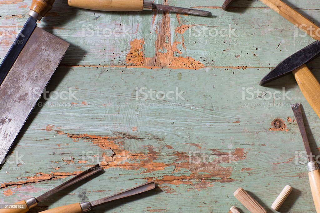 set of carpenter tools stock photo