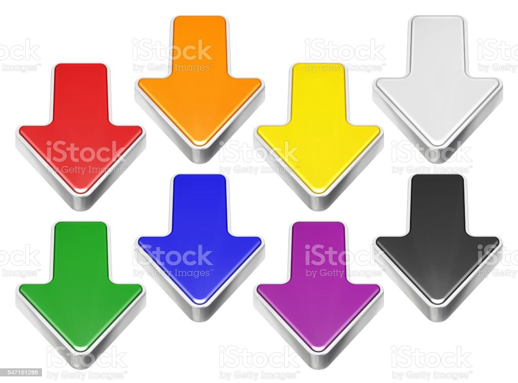 Set of cartoon 3D arrows with metal border, download symbol stock photo