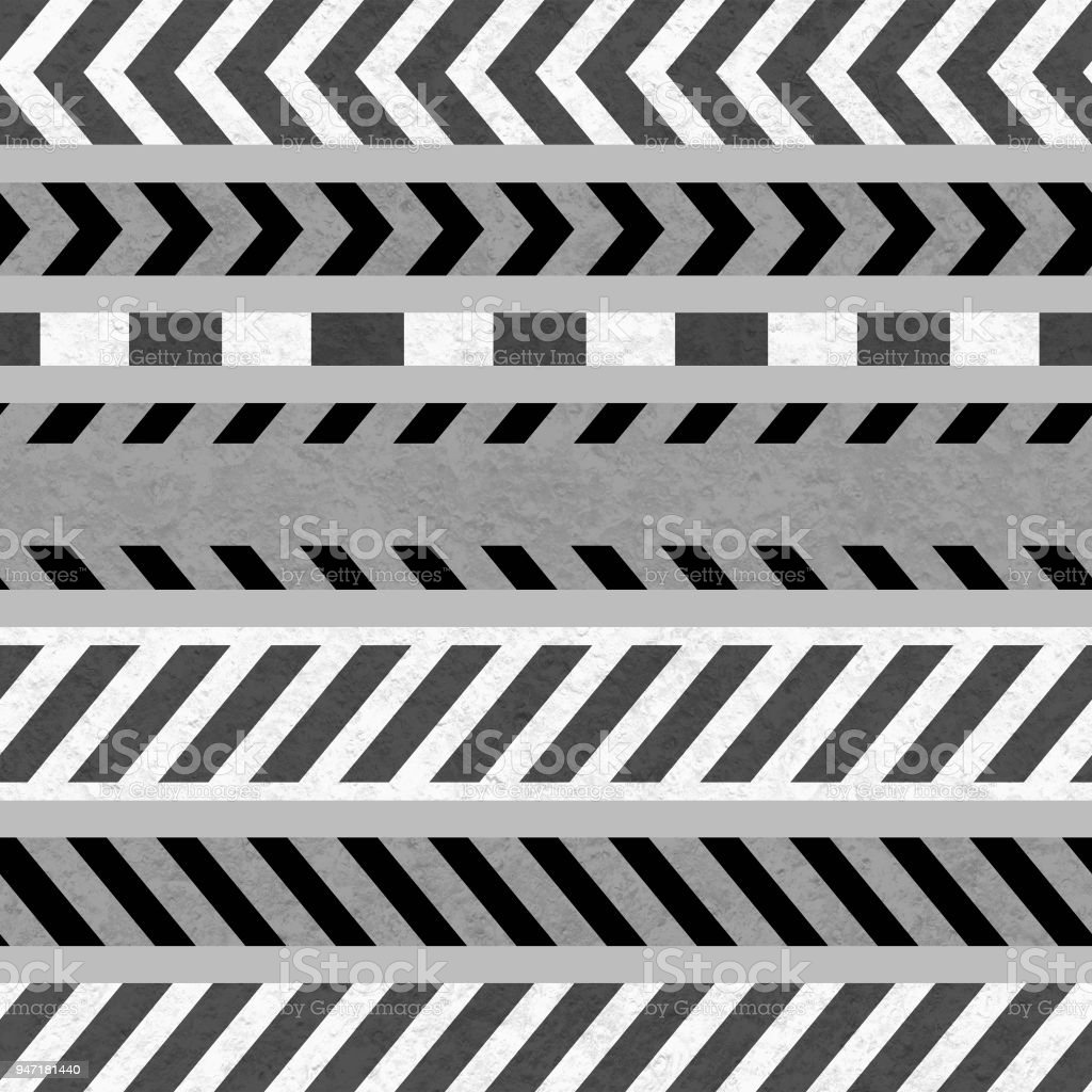 Set Of Caution Tapes And Warning Signs Seamless Strip Stock Photo
