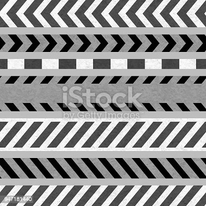istock Set of Caution Tapes and Warning Signs, SEAMLESS Strip 947181440