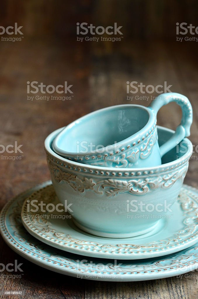 Set of ceramic tableware. stock photo