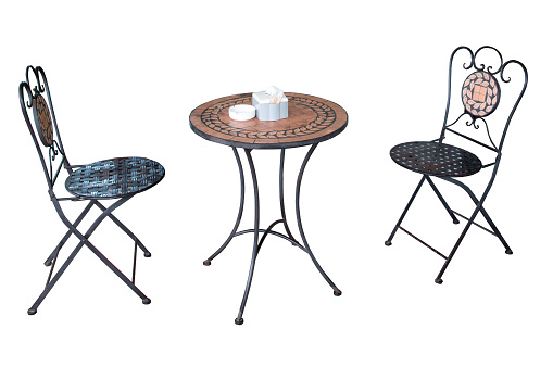 Set of chairs and table made from steel and wooden, furniture for decoration at home