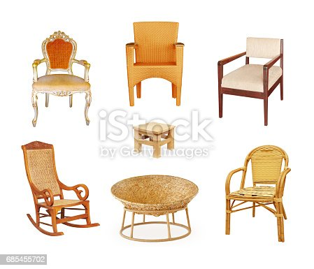 istock Set of chairs  isolated on white 685455702