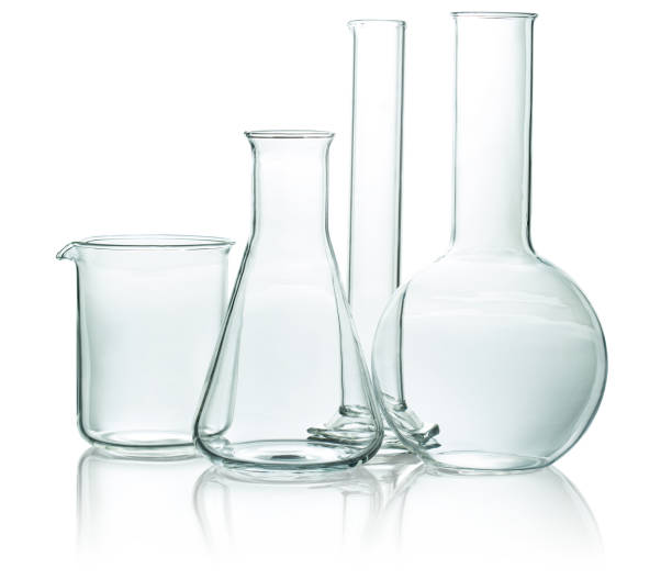 set of chemical glassware stock photo