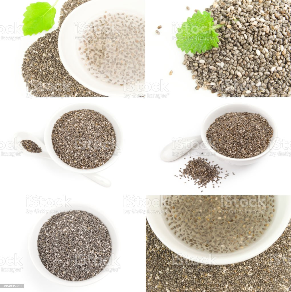 Set of chia seeds on a isolated white background foto stock royalty-free