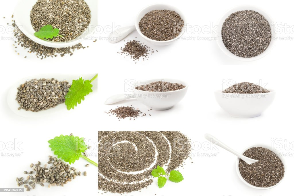 Set of chia seeds on a white background cutout foto stock royalty-free