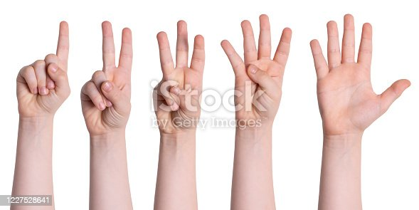 693519466 istock photo Set Of Child Hands Showing Numbers 1227528641