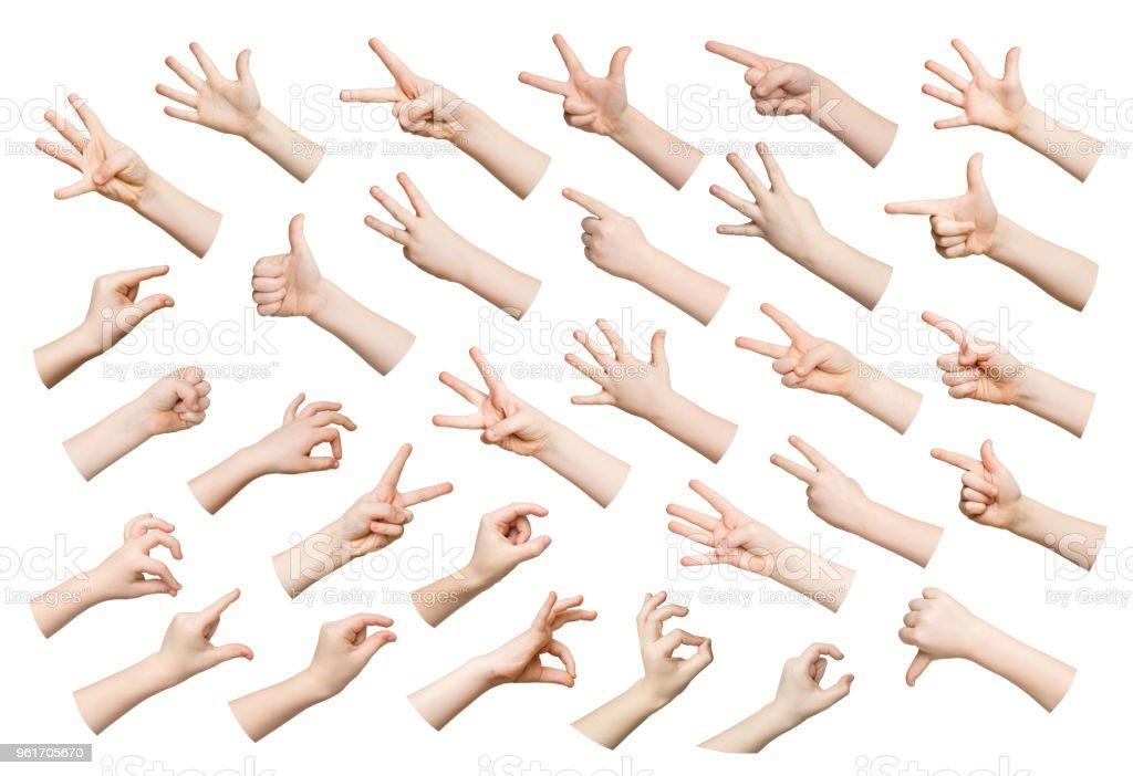 Set of child hands showing symbols royalty-free stock photo