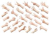 Set of child hands showing symbols