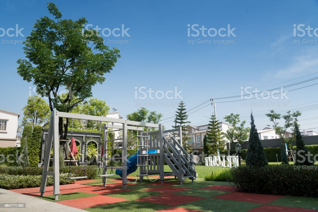 Set of children playground  in the city garden park. royalty-free stock photo