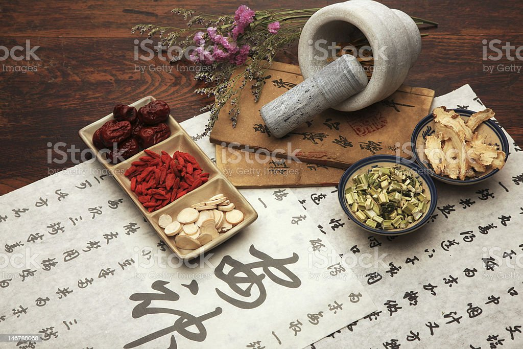 A set of Chinese herbal medicine and tea set stock photo