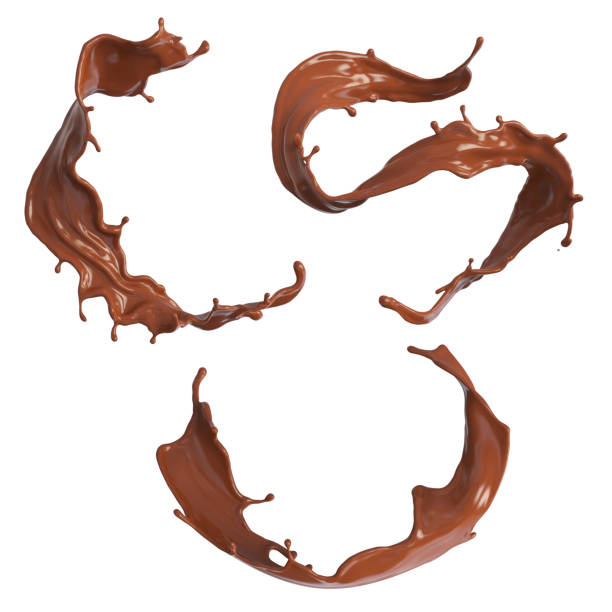 set of chocolate splash or cocoa - chocolate swirl stock photos and pictures
