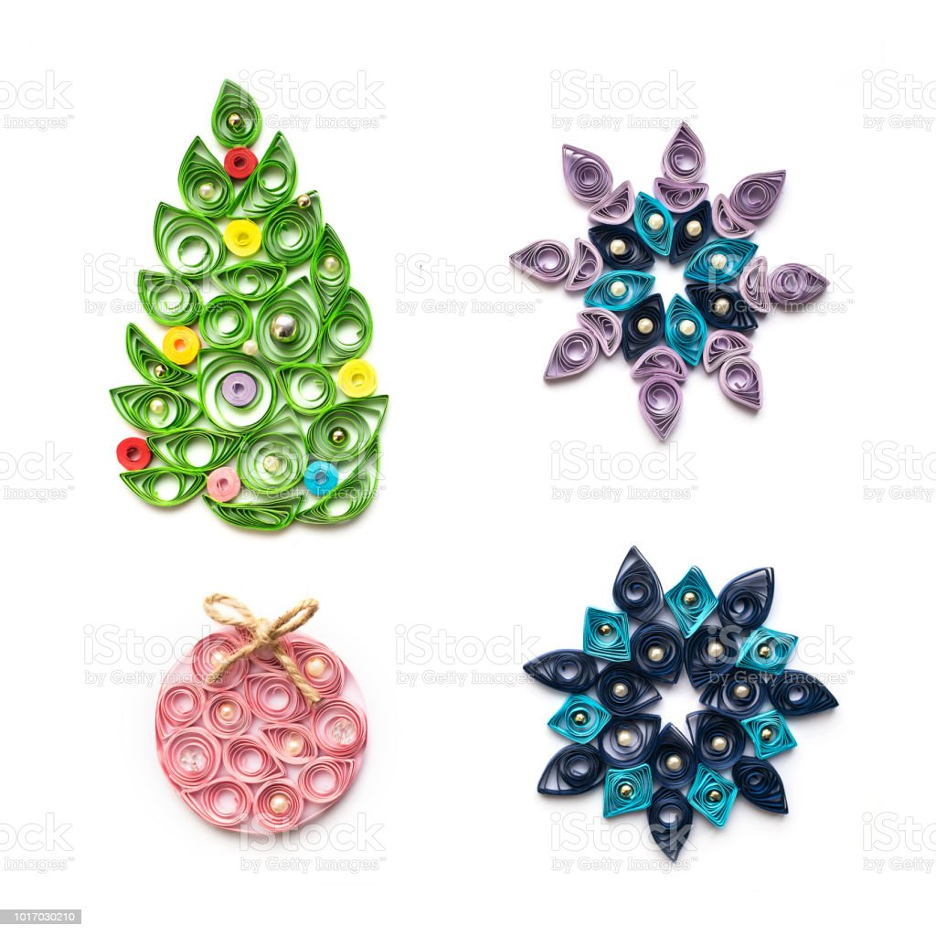 Set Of Christmas And New Year Decor In Quilling Technique Isolated