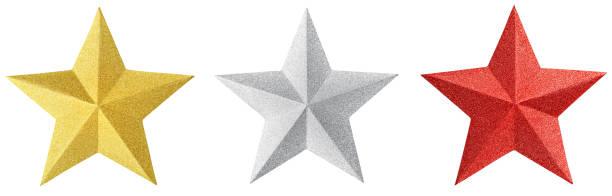 set van kerst gouden ster geïsoleerd op witte achtergrond. kerst ornament close-up gouden ster - kerstster stockfoto's en -beelden