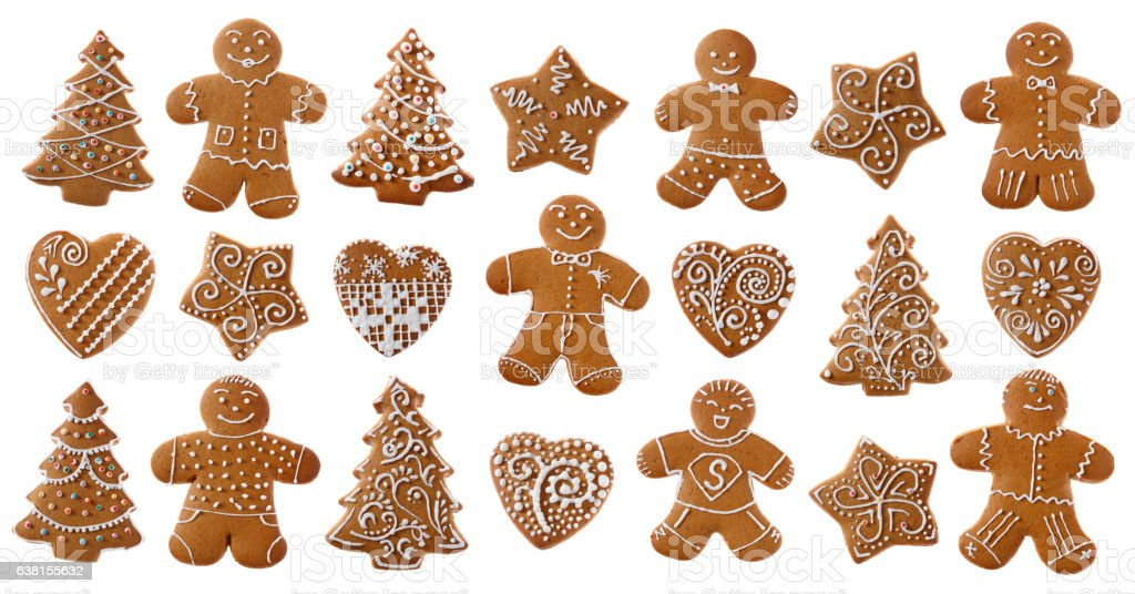 Set of christmas homemade gingerbread cookies on the white stock photo