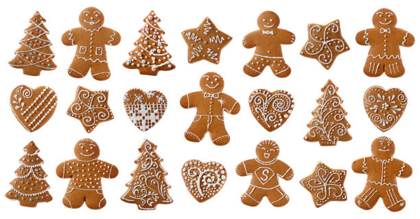 set of christmas homemade gingerbread cookies on the white - speculaas stockfoto's en -beelden