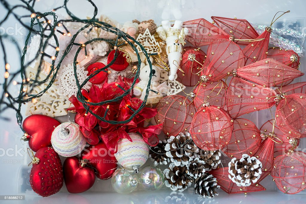 Set of Christmas toys and decorations. Soft focus stock photo