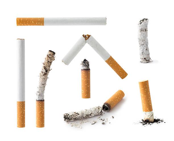set of cigarettes , isolated - cicca sigaretta foto e immagini stock