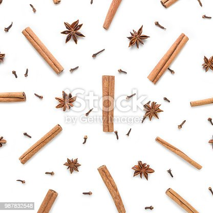Set of cinnamon, clove and star anise, isolated on white background