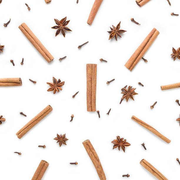 Set of cinnamon, clove and star anise, scattered in a chaotic manner, isolated on white background Set of cinnamon, clove and star anise, isolated on white background star anise on white stock pictures, royalty-free photos & images