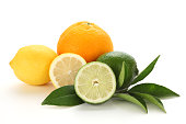 Citrus fruits (lemon, lime, orange) isolated on white background