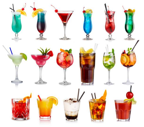 набор классических алкогольных коктейлей изолирован - напиток стоковые фото и изображения