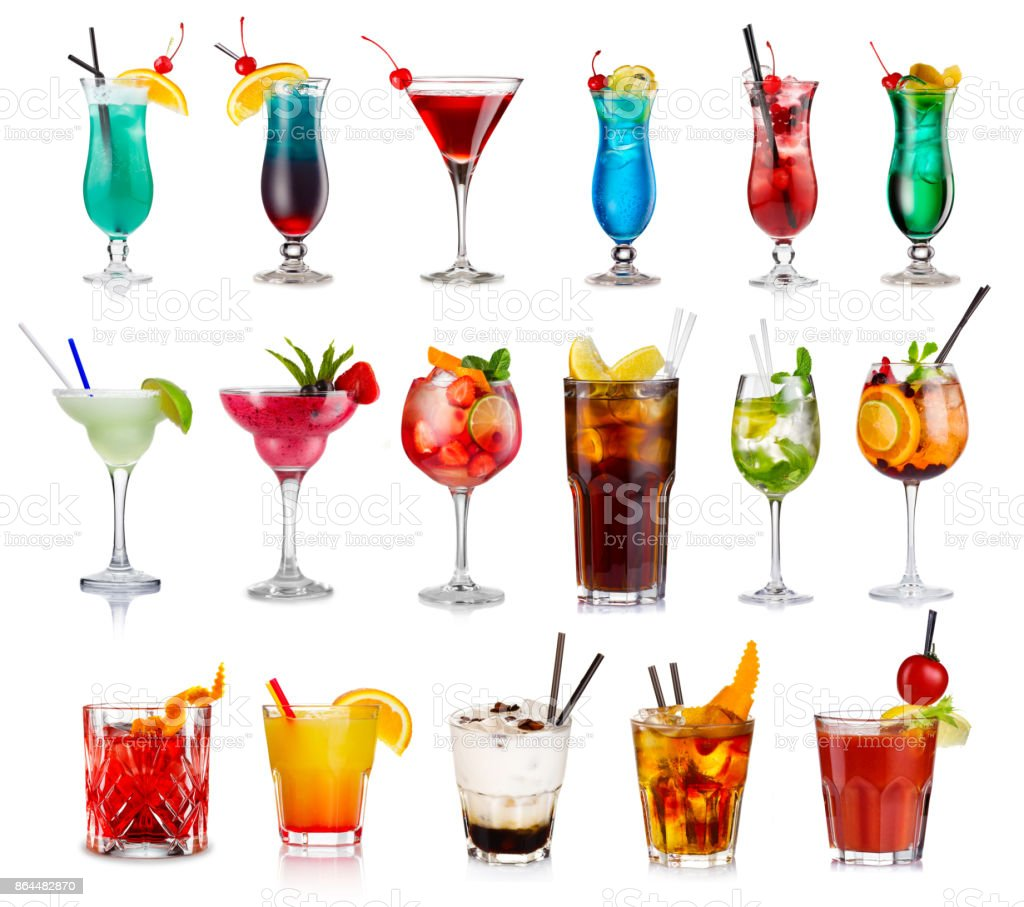 Set of classic alcohol cocktails isolated stock photo