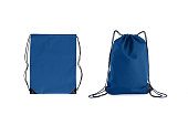 Set of classic blue drawstring packs template, bag for sport shoes isolated on white. Mock up, 2020.