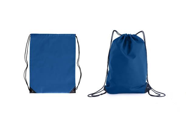 set van klassieke blauwe koord packs sjabloon, tas voor sportschoenen geïsoleerd op wit. - zak tas stockfoto's en -beelden