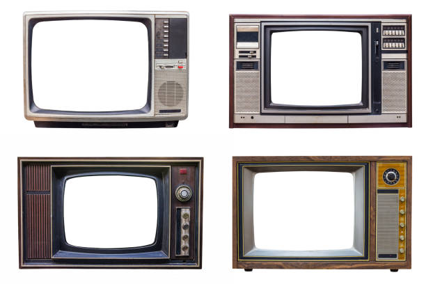 set of classic vintage retro style old television with cut screen, old tv isolated on white background - televisor imagens e fotografias de stock