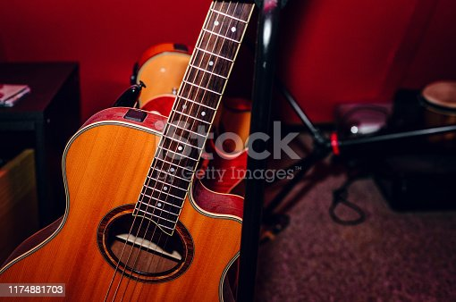 1014432572 istock photo A set of classical and electric guitars. Music concept. 1174881703