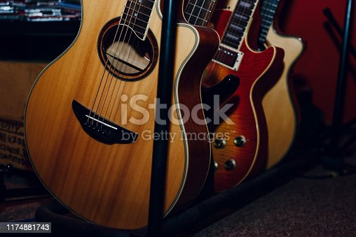 1014432572 istock photo A set of classical and electric guitars. Music concept. 1174881743