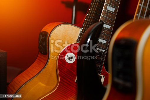 1014432572 istock photo A set of classical and electric guitars. Music concept. 1174882463