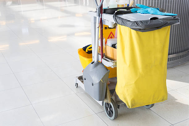 set of cleaning equipment in the airport stock photo