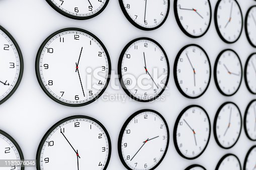 Set of Clocks with Different World Time on a white background. 3d Rendering