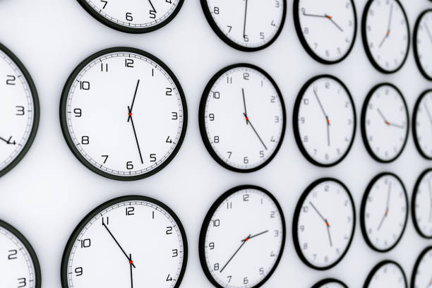 Set of Clocks with Different World Time. 3d Rendering Set of Clocks with Different World Time on a white background. 3d Rendering time zone stock pictures, royalty-free photos & images