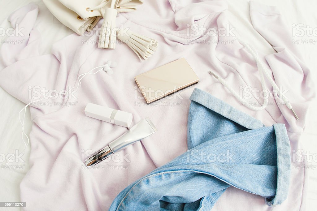 Set of clothes and make up objects. stock photo