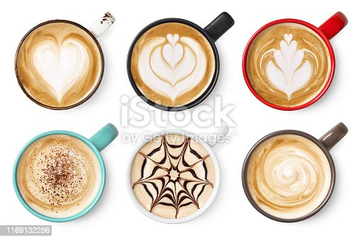 Set of six various coffee latte or cappuccino foam art isolated on white background. Top view. Colorful cups