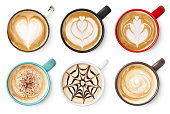 istock Set of coffee latte or cappuccino foam art 1169132256