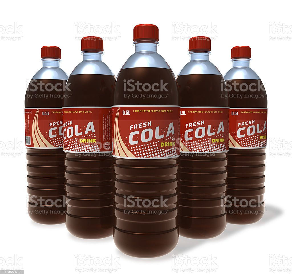 Set of cola drinks in plastic bottles royalty-free stock photo
