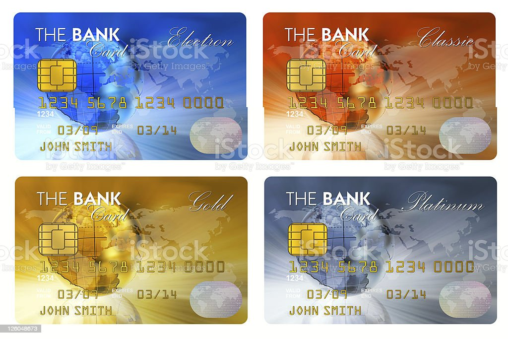 Set of color credit cards stock photo