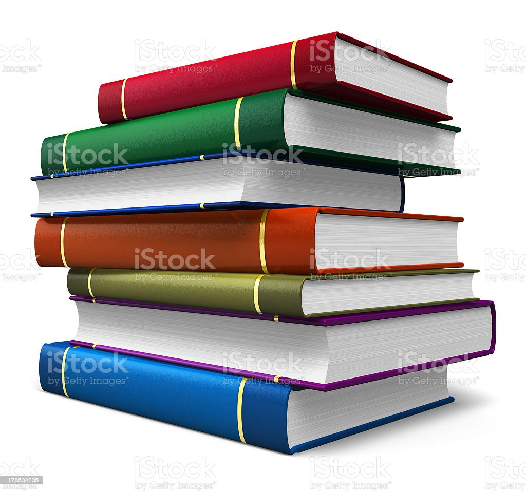 Set of color hardcover books royalty-free stock photo