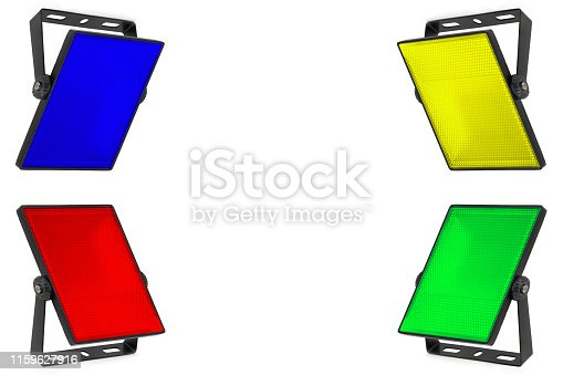 A set of four isolated LED spotlights in red, blue, yellow and green colors on a white background. Diffuser with small cells. A high resolution.