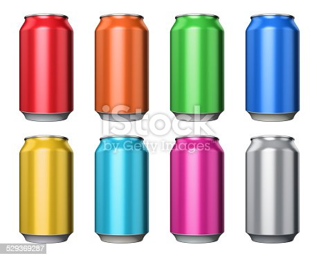 istock Set of color metal drink cans 529369287
