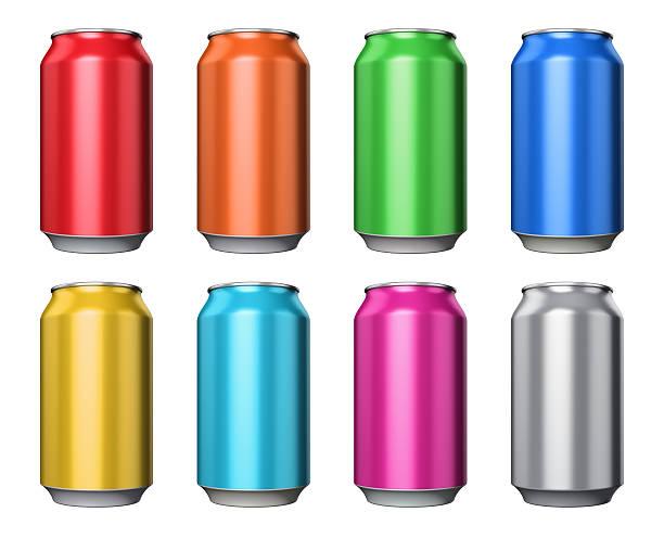 satz von farbe metall-dosen getränke - zinn farbe stock-fotos und bilder