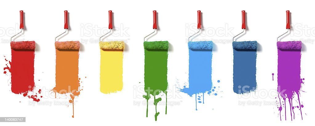 set of color paint rollers royalty-free stock photo